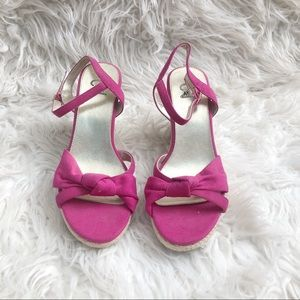 2 Mia Pink Bow Sandal Wedges